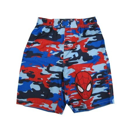2ba203c2a Marvel - Marvel Little Boys Blue Red Spiderman Camo Print UPF 50+ Swim  Shorts - Walmart.com