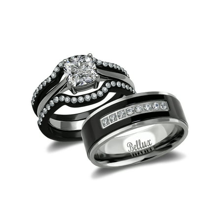 His And Hers Wedding Ring Sets Black Stainless Steel Anium Bridal Set