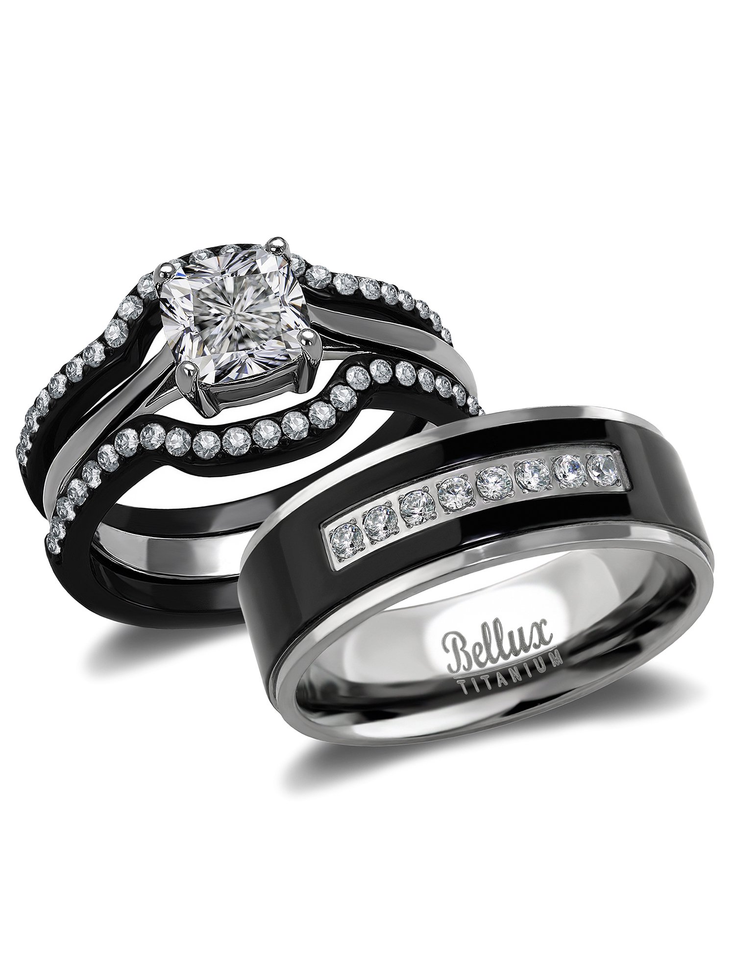 His And Hers Wedding Ring Sets Black Stainless Steel And Titanium Bridal Set