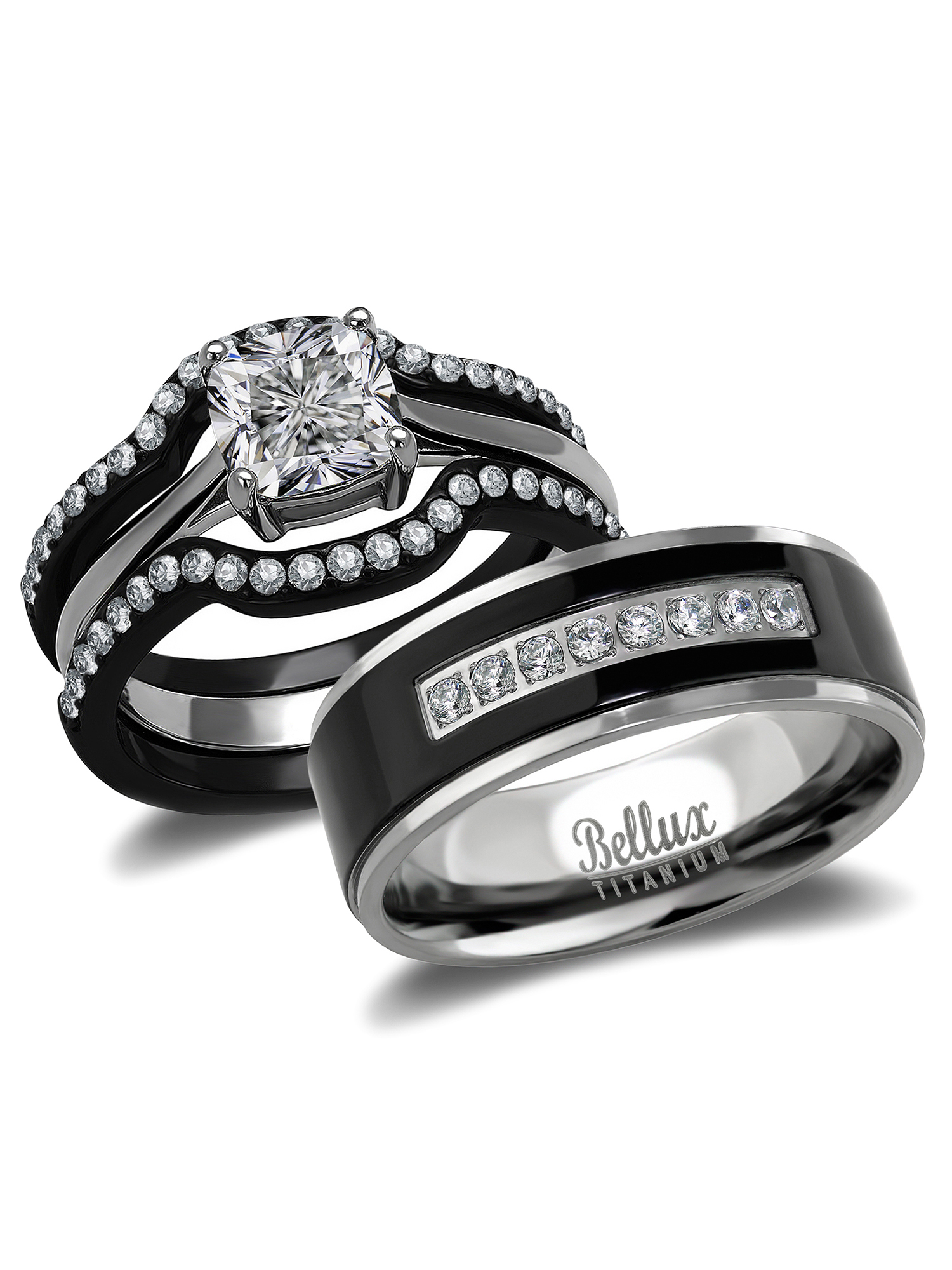 Delicieux His And Hers Wedding Ring Sets Black Stainless Steel And Titanium Bridal Set