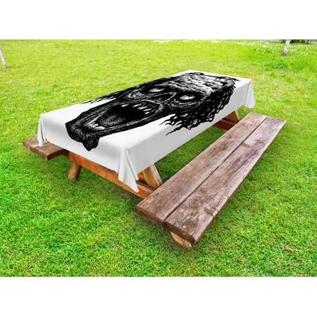 Halloween Outdoor Tablecloth, Zombie Head Evil Dead Man Portrait Fiction Creature Scary Monster Graphic, Decorative Washable Fabric Picnic Table Cloth, 58 X 84 Inches,Black Dark Grey, by - Name A Scary Halloween Monster