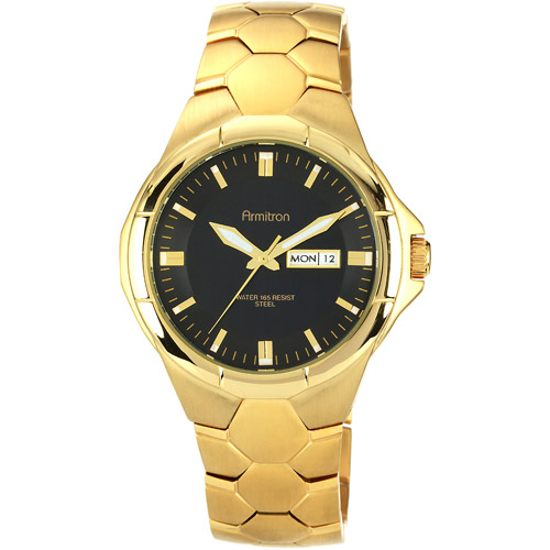 Armitron Men's Black Dial Watch, Gold-Tone Bracelet