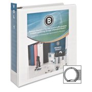 "Business Source Round-ring View Binder - 2"" Binder Capacity - Letter - 8 1/2"" x 11"" Sheet Size - 475 Sheet Capacity - Round Ring Fastener(s) - 2 Internal Pocket(s) - Polypropylene - White - 1 Each"