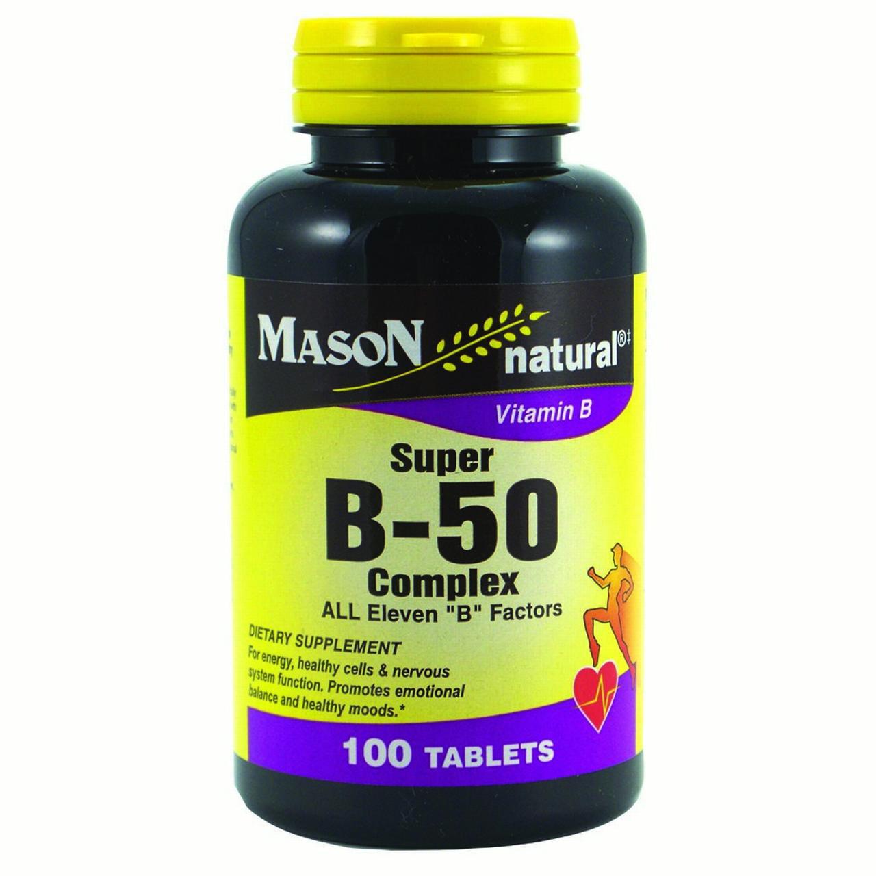 """Mason Vitamins Super B 50 Complex All Eleven """"B"""" Factors Tablets, 100 Ct"""