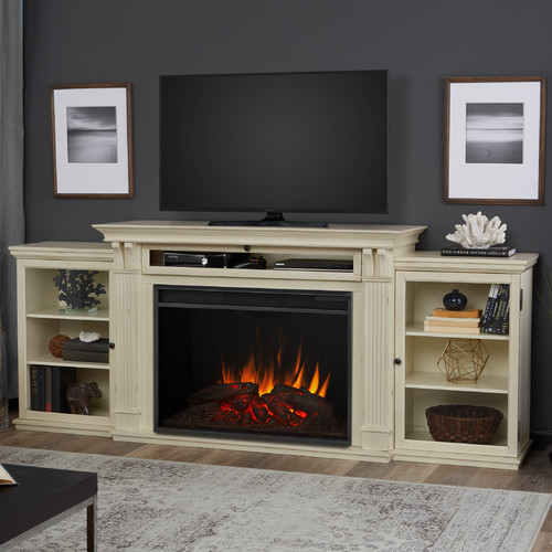 real tracey 84 quot fireplace tv stand in black