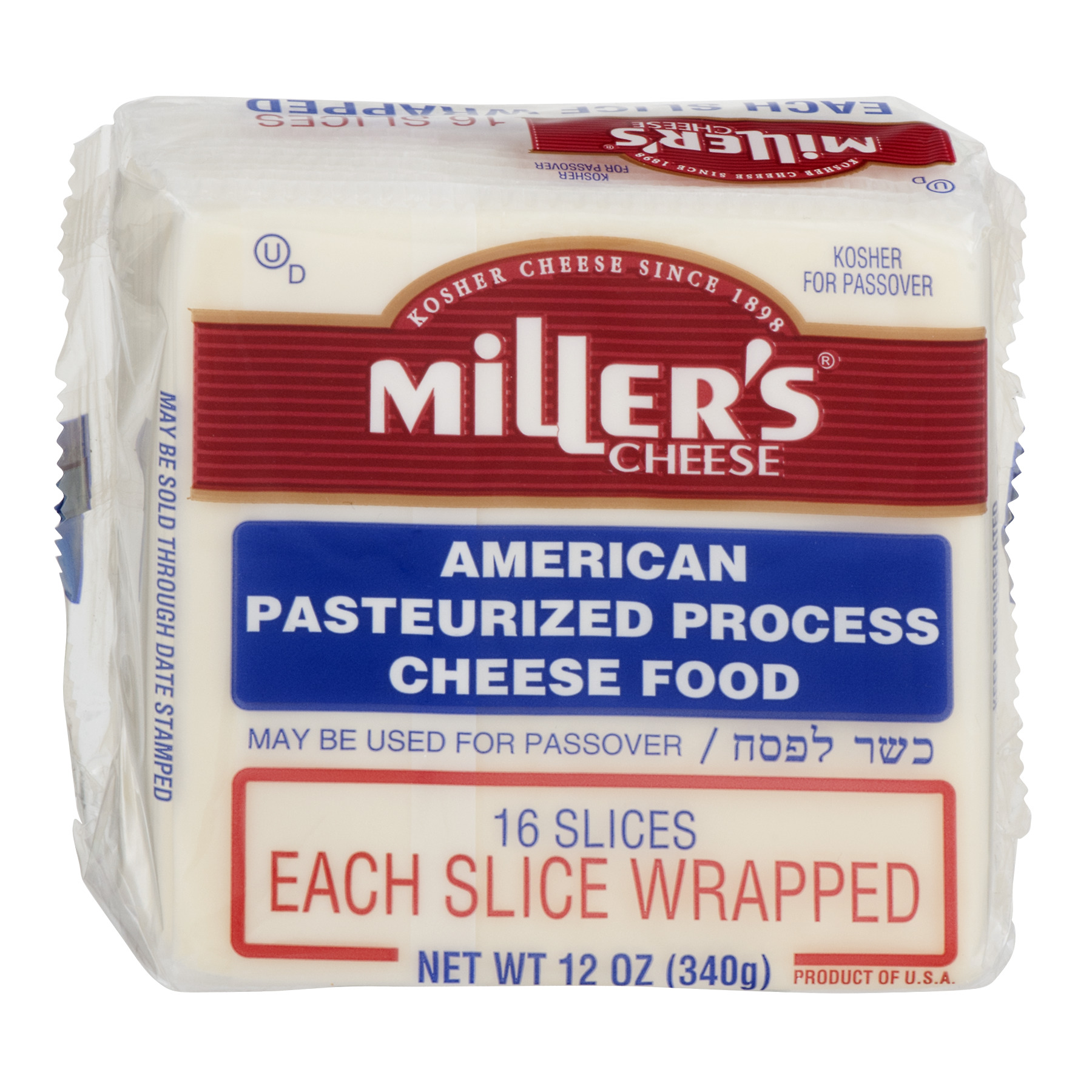 Miller's Cheese American Pasteurized Process Cheese Food Sliced, 12 Oz., 16 Count