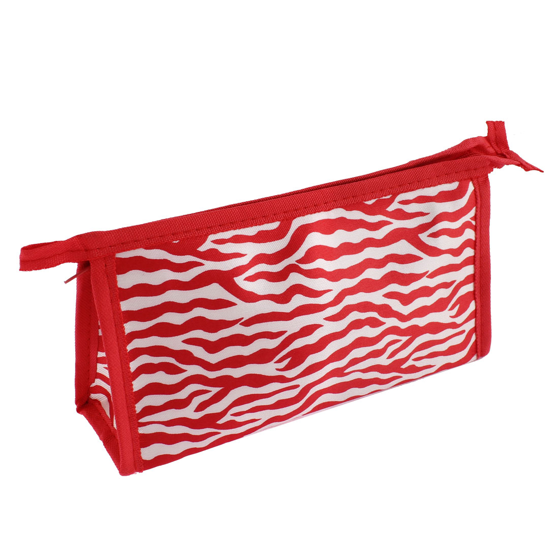Women Water Wave Pattern Cosmetic Bag Makeup Hand Case Container Red White