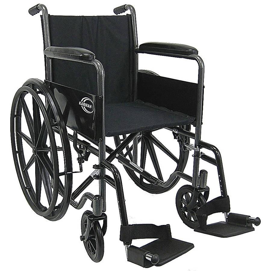 "Karman LT-800T Lightweight Wheelchair with Fixed Full Armrest, 18"" Seat Silver Vein"