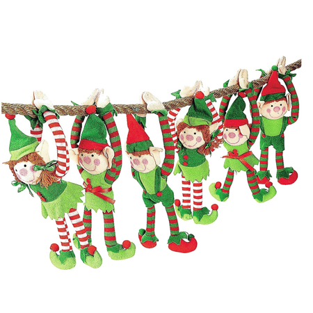 Christmas Elves, Set of 6 Long Armed Plush Hanging - Elf Christmas Decorations