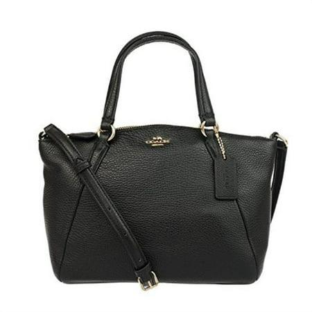 Coach Pebble Leather Mini Kelsey Satchel Crossbody Handbag, Black