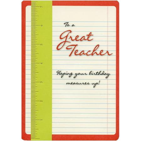 Designer Greetings Green Ruler on Paper Birthday Card for Teacher
