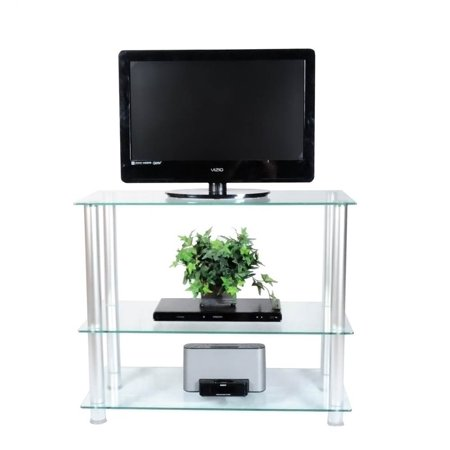 42 inch glass and aluminum tv stand. Black Bedroom Furniture Sets. Home Design Ideas