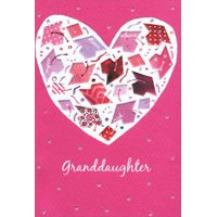 Pictura Mortarboards Inside White Glitter Heart on Pink Graduation Congratulations Card for Granddaughter