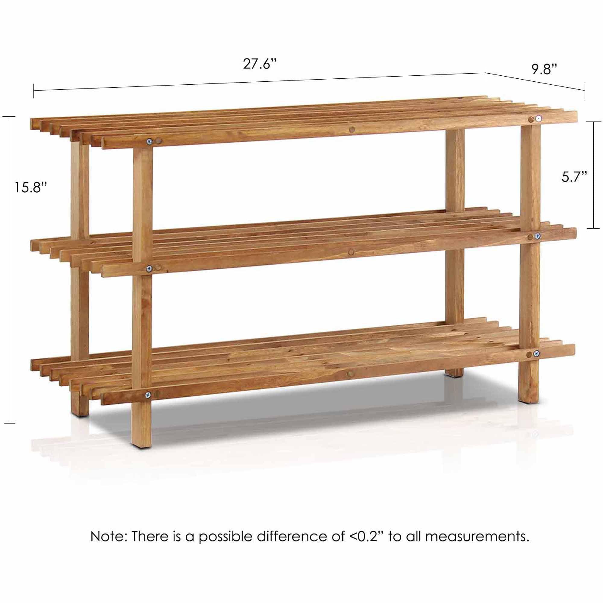 Furinno FNCJ-33003 Pine Solid Wood 3-Tier Shoe Rack
