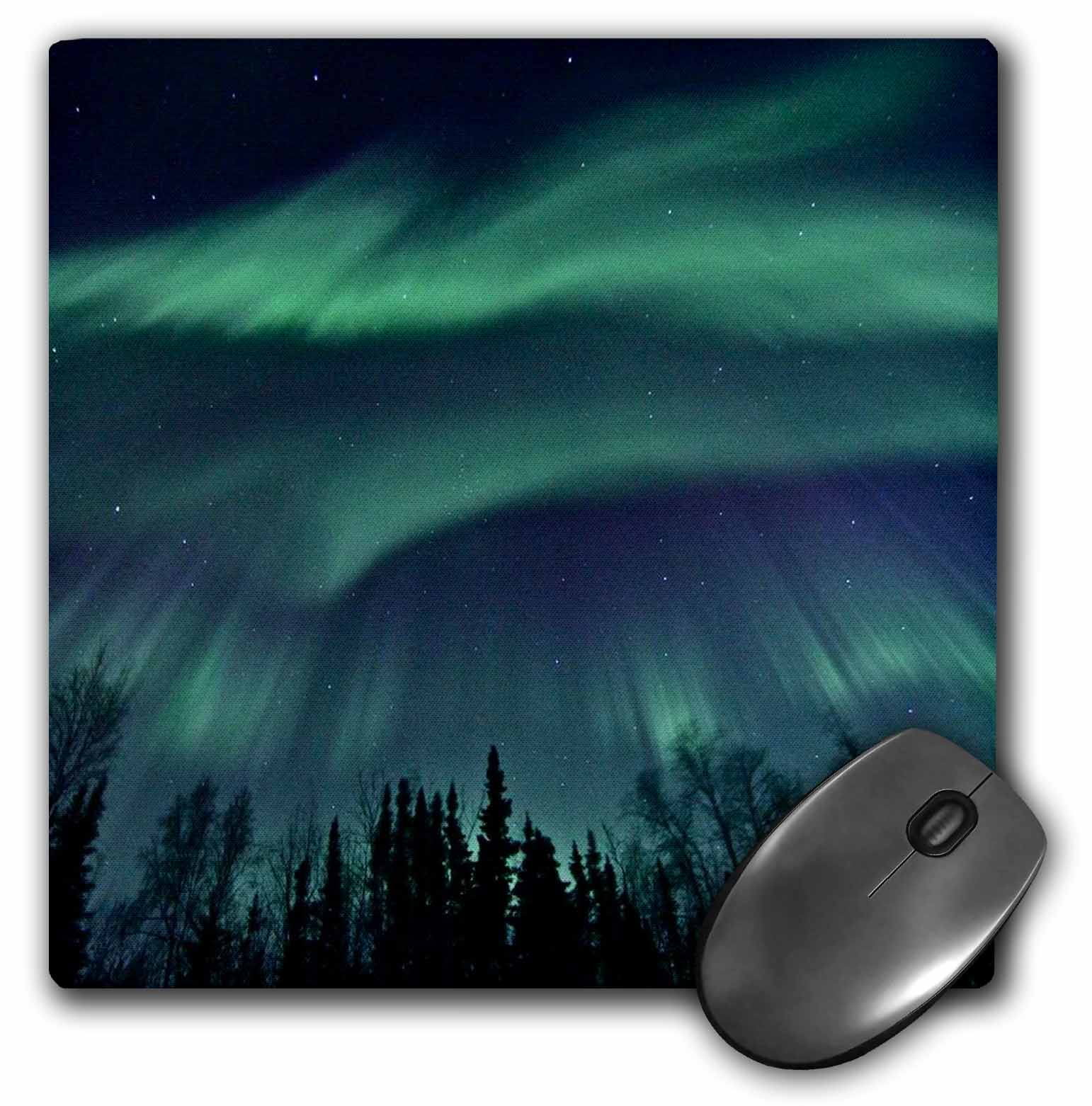 3dRose Northern Lights in Shade of Green Amongst a Dark Blue Night Sky, Mouse Pad, 8 by 8 inches
