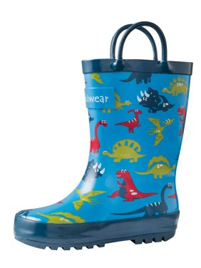 Blue Dinosaurs Loop Handle Rubber Rain Boots (Dinosaurs / 12T)