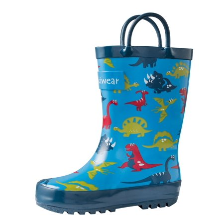 Blue Dinosaurs Loop Handle Rubber Rain Boots (Dinosaurs / 12T) ()