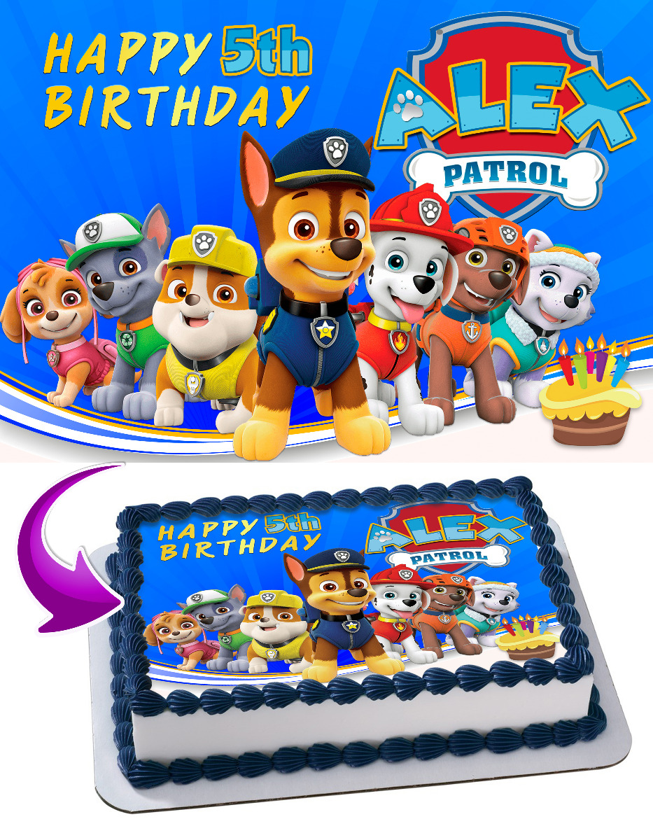 Details about  /PAW PATROL HAPPY BIRTHDAY PERSONALISED 7.5 INCH PRE-CUT EDIBLE CAKE TOPPER 302A