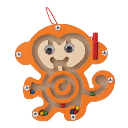 - 1Pcs Kids Educational Toys Magnetic Maze Toy Wooden Puzzle Game Toy Mini Wooden Animal Shape Board Maze (Monkey)