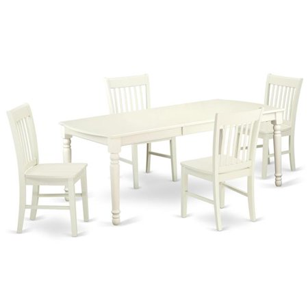 East West Furniture DONO5-LWH-W 5 PC kitchen tables and chair set with one  Dover dining table and 4 kitchen chairs in a Linen White ...