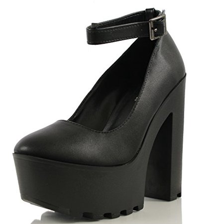 22f227a3d22 SODA Shoes - Soda Women s Max Lace-Up Ankle Strap Chunky Heel Lug Ankle  Bootie (7.5 M US Women) - Walmart.com