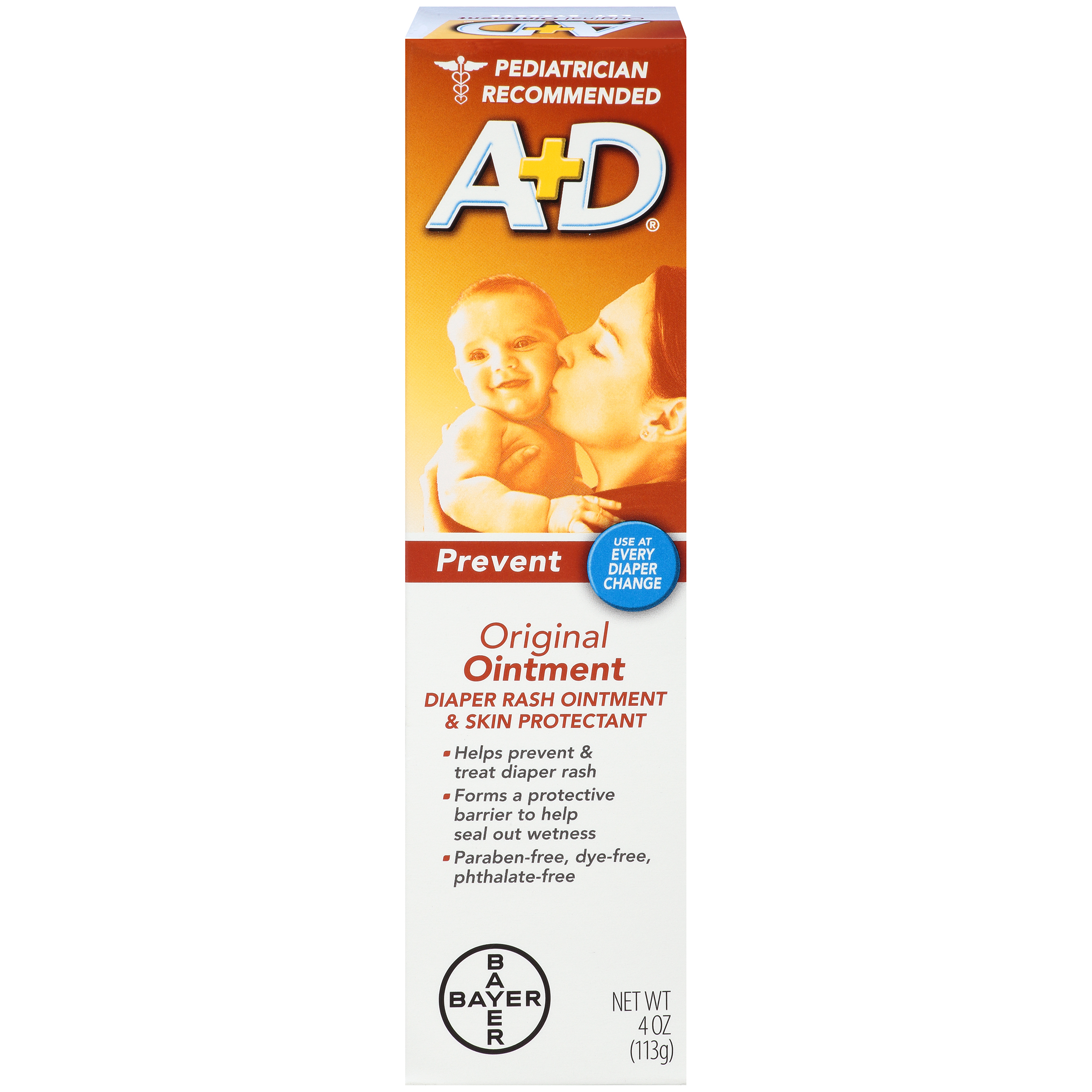 A+D Original Diaper Rash Ointment, Skin Protectant, 4 Ounce Tube
