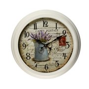 Adeco Trading 14.6'' Round Lilac and Watering Can Detail Wall Hanging Clock