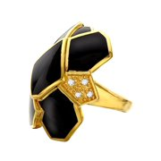 Black Mp Wall Ring with Cubic Zirconia in 14kt Gold-Plated Sterling Silver