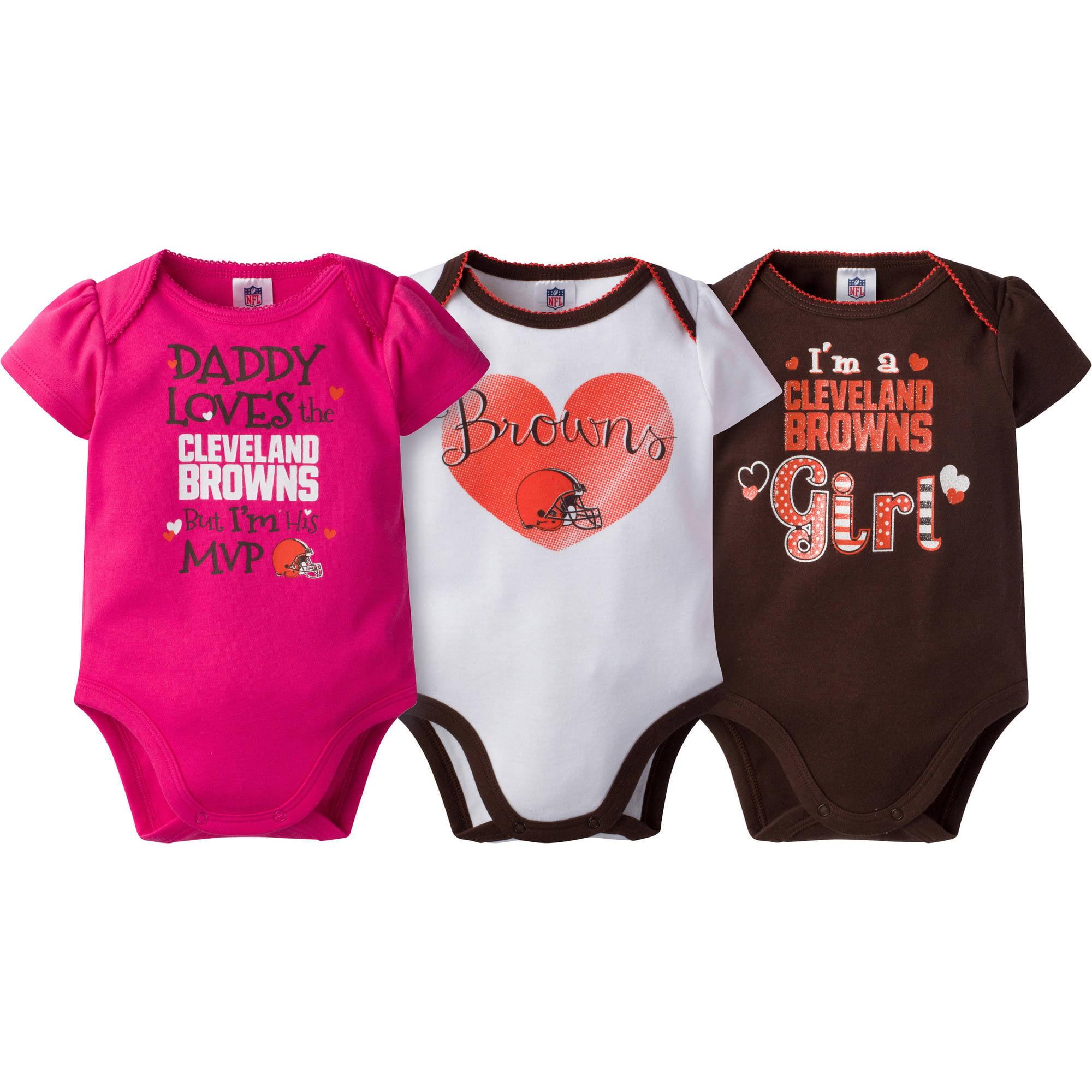 NFL Cleveland Browns Baby Girls Short Sleeve Bodysuit Set, 3-Pack