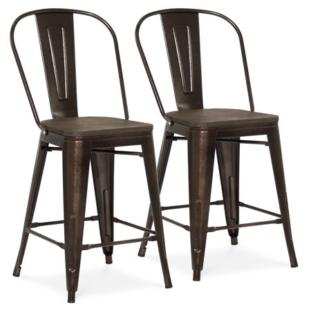 Best Choice Products 24in Set of 2 Modern Industrial Metal Counter Height Stools w/ Wood Seat, High Backrest, Rubber Feet for Kitchen, Bar Dining -