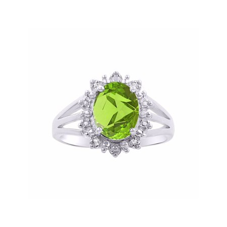 Princess Diana Inspired Halo Diamond & Peridot Ring Set In 14K White Gold (Princess Diana Sapphire)