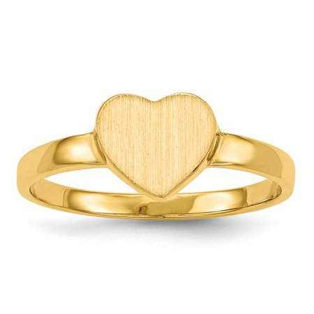14K Yellow Gold 2 MM Heart Engravable Signet Ring, Size 6