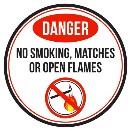 Match Com Commercial (Danger No Smoking Matches Or Open Flames Red, Black and White Business Commercial Safety Warning Round Sign - 9 Inch )