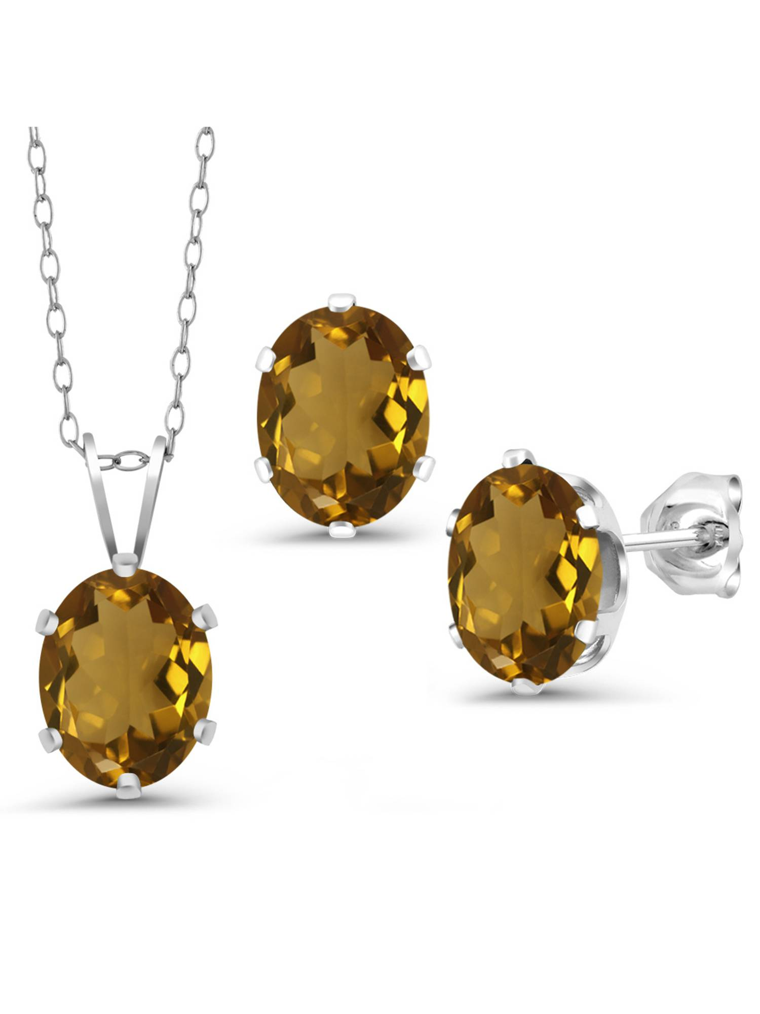 3.00 Ct Oval Whiskey Quartz 925 Sterling Silver Pendant Earrings Set With Chain