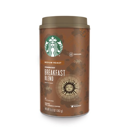 Starbucks Breakfast Blend Arabica Ground Coffee, Medium Roast, 13.5 Ounce Canister