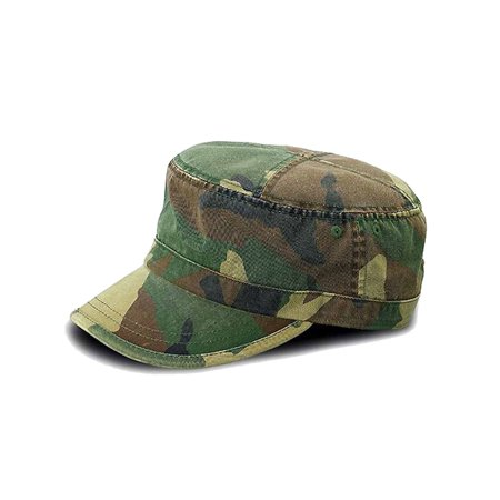 Camouflage Print Cotton Cadet Cap Hat