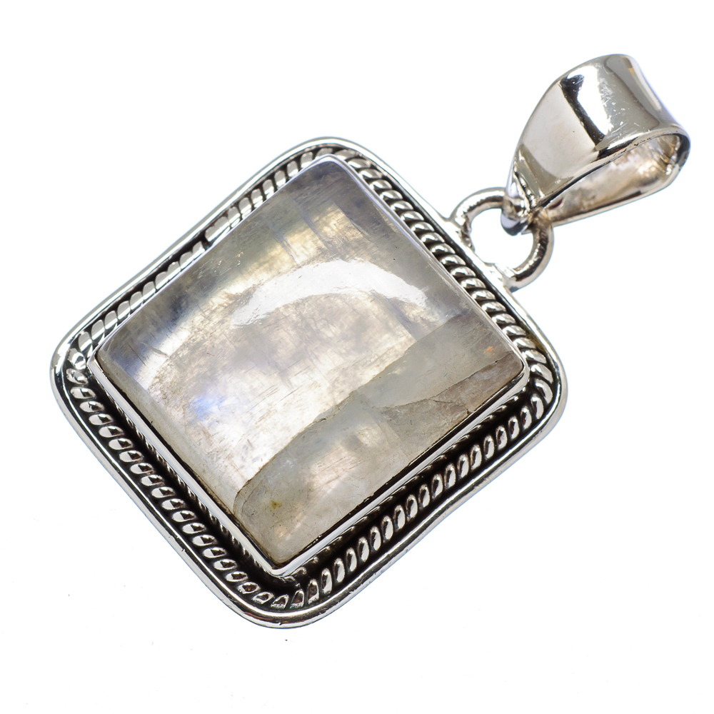 """Ana Silver Co Rainbow Moonstone 925 Sterling Silver Pendant 1 1/4"""" PD556216"""