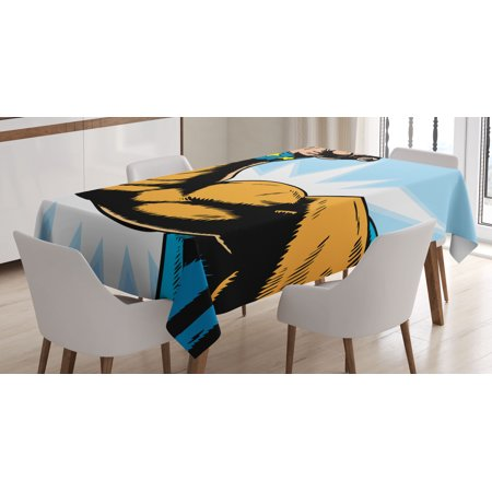 Comics Decor Tablecloth, Superhero Arm Flexing Muscles Powerful Fiction Character Cartoon Graphic, Rectangular Table Cover for Dining Room Kitchen, 60 X 84 Inches, Merigold Blue, by Ambesonne