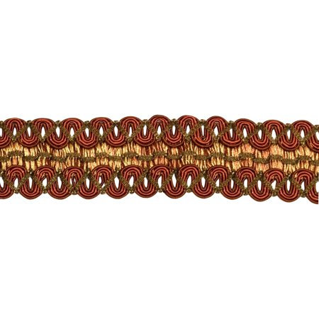6 Yard Value Pack of Vintage 2 Inch (5cm) Wide Brown, Light Gold Gimp Braid Trim - English Toffee 08 (18 Ft / 6.5M)