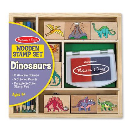 Melissa & Doug Wooden Stamp Set: Dinosaurs - 8 Stamps, 5 Colored Pencils, 2-Color Stamp