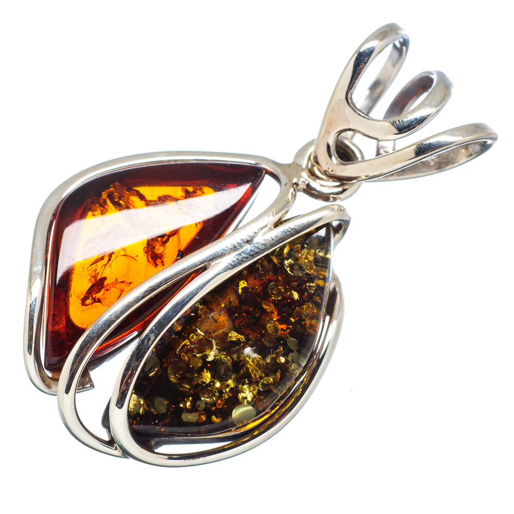 """Ana Silver Co Genuine Baltic Amber 925 Sterling Silver Pendant 1 3/4"""" PD578525"""