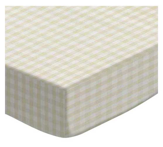 Sheet World Sheetworld Fitted Youth Bed Sheet  -  Cream Gingham Jersey