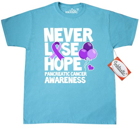 Purple For Cancer (Inktastic Never Lose Hope With Balloons And Ribbon For Pancreatic Cancer T-Shirt Awareness Purple Mens Adult Clothing Apparel Tees)