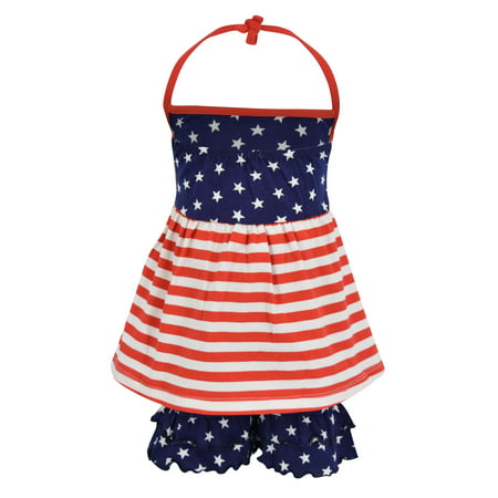 Unique Baby Girls 4th of July Patriotic Halter Top Summer Outfit (2t, Red) ()