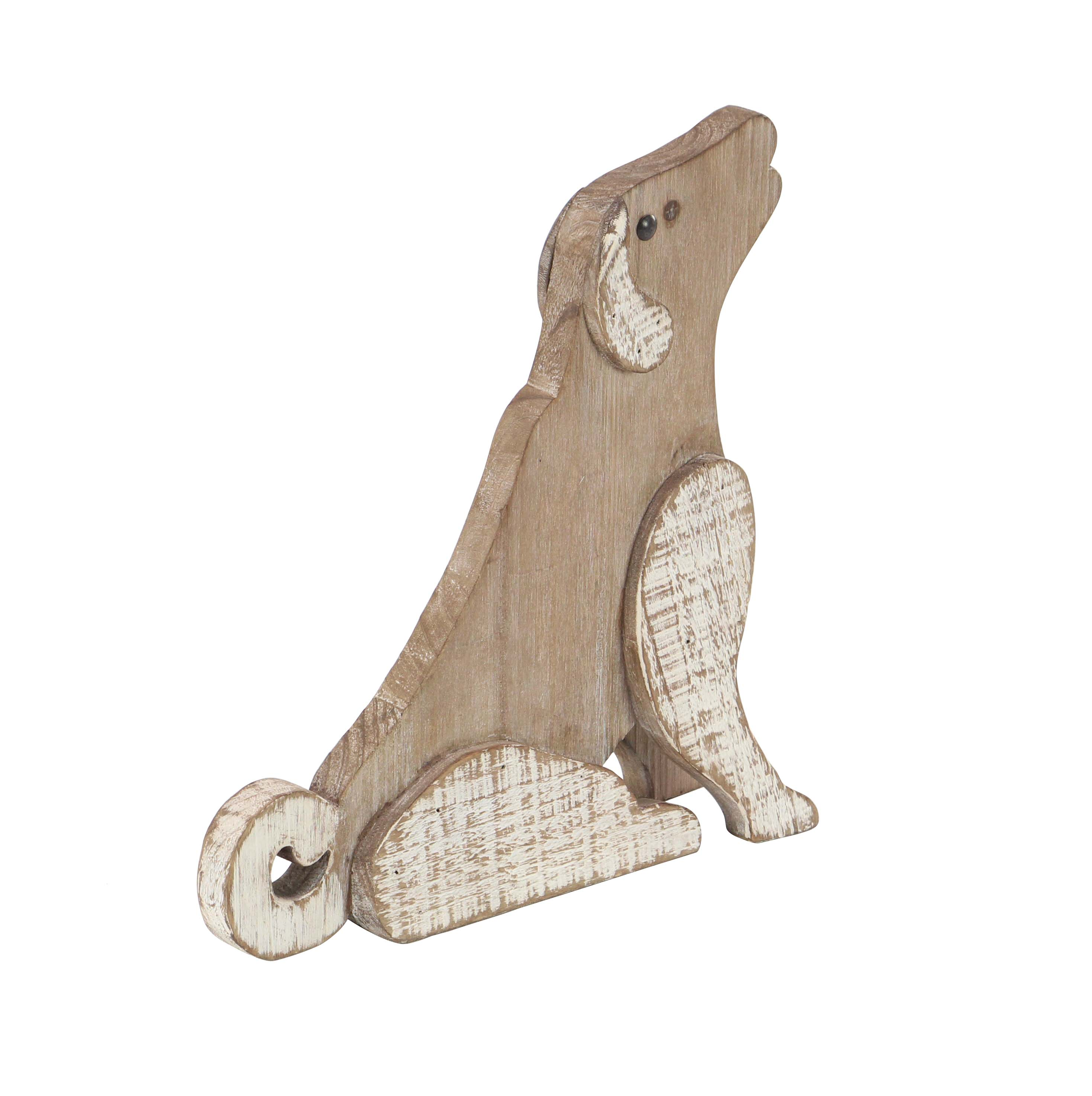 Decmode Farmhouse White and Brown Wooden Sitting Dog Decorative Sculpture, White by DecMode