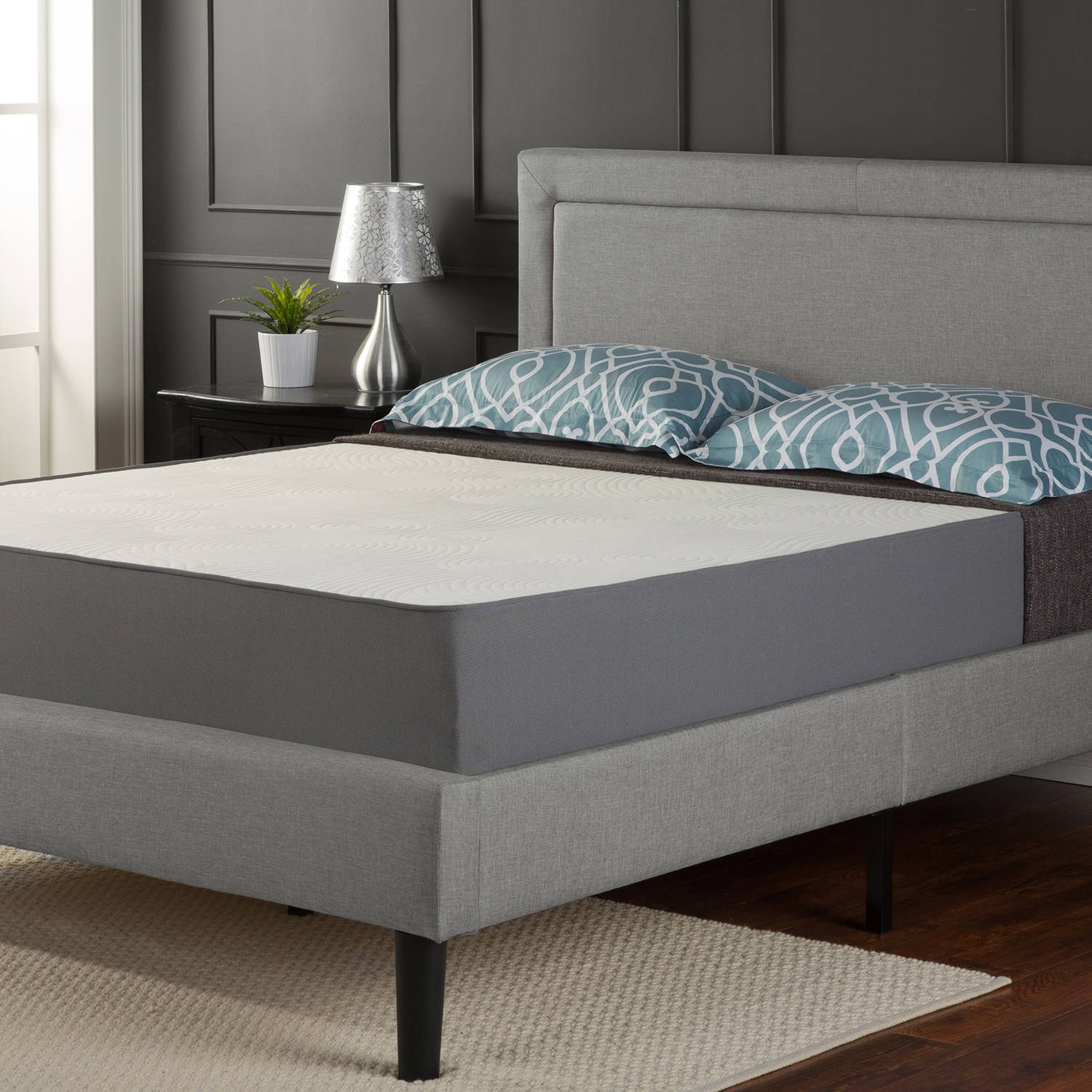 Zinus Upholstered Square Stitched Platform Bed with Headboard and Wooden  Slats  Multiple Sizes   Walmart com. Zinus Upholstered Square Stitched Platform Bed with Headboard and