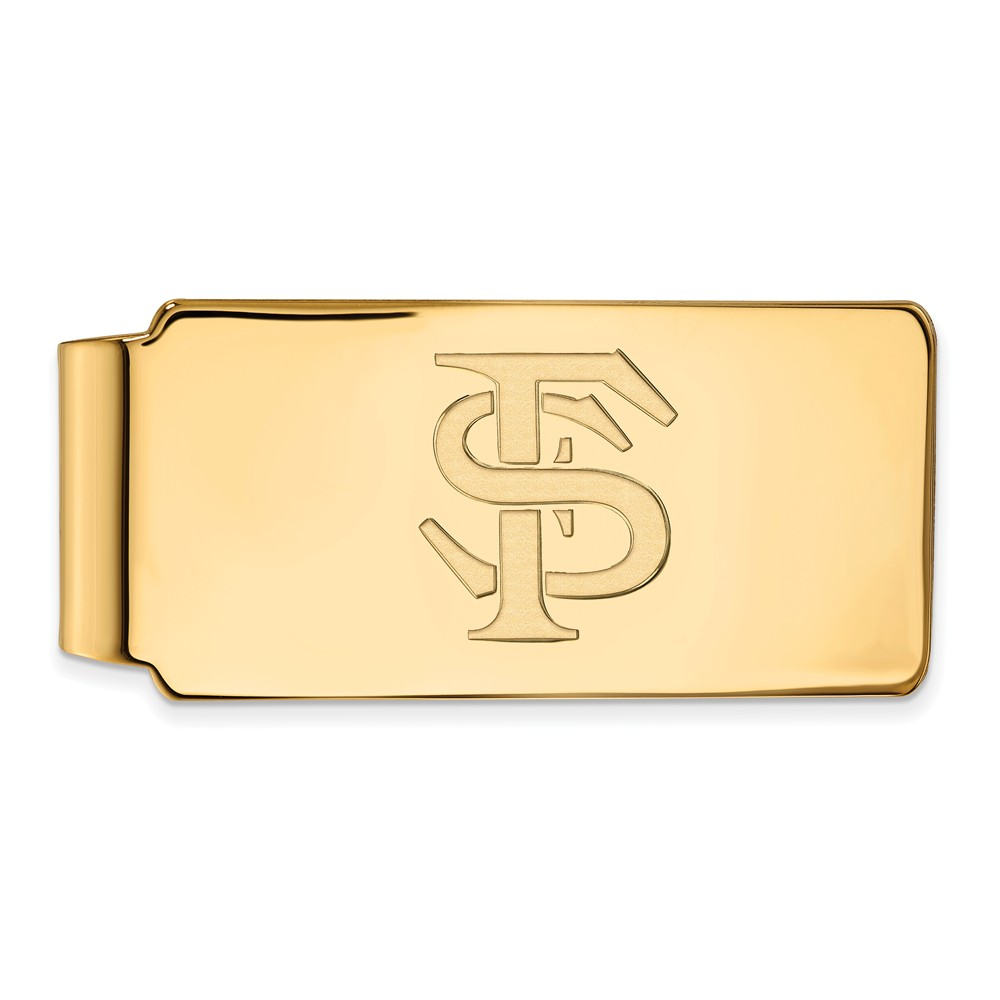 Solid 925 Sterling Silver with Gold-Toned Florida State University Money Clip (55mm x 26mm)