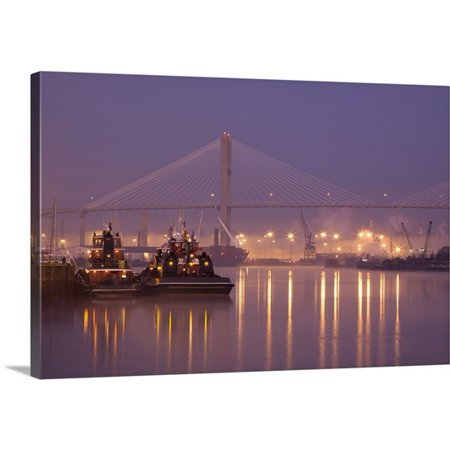 Great Big Canvas Joanne Wells Premium Thick Wrap Canvas Entitled Georgia  Savannah  Tugboats And Bridge At Dawn Along The Savannah River