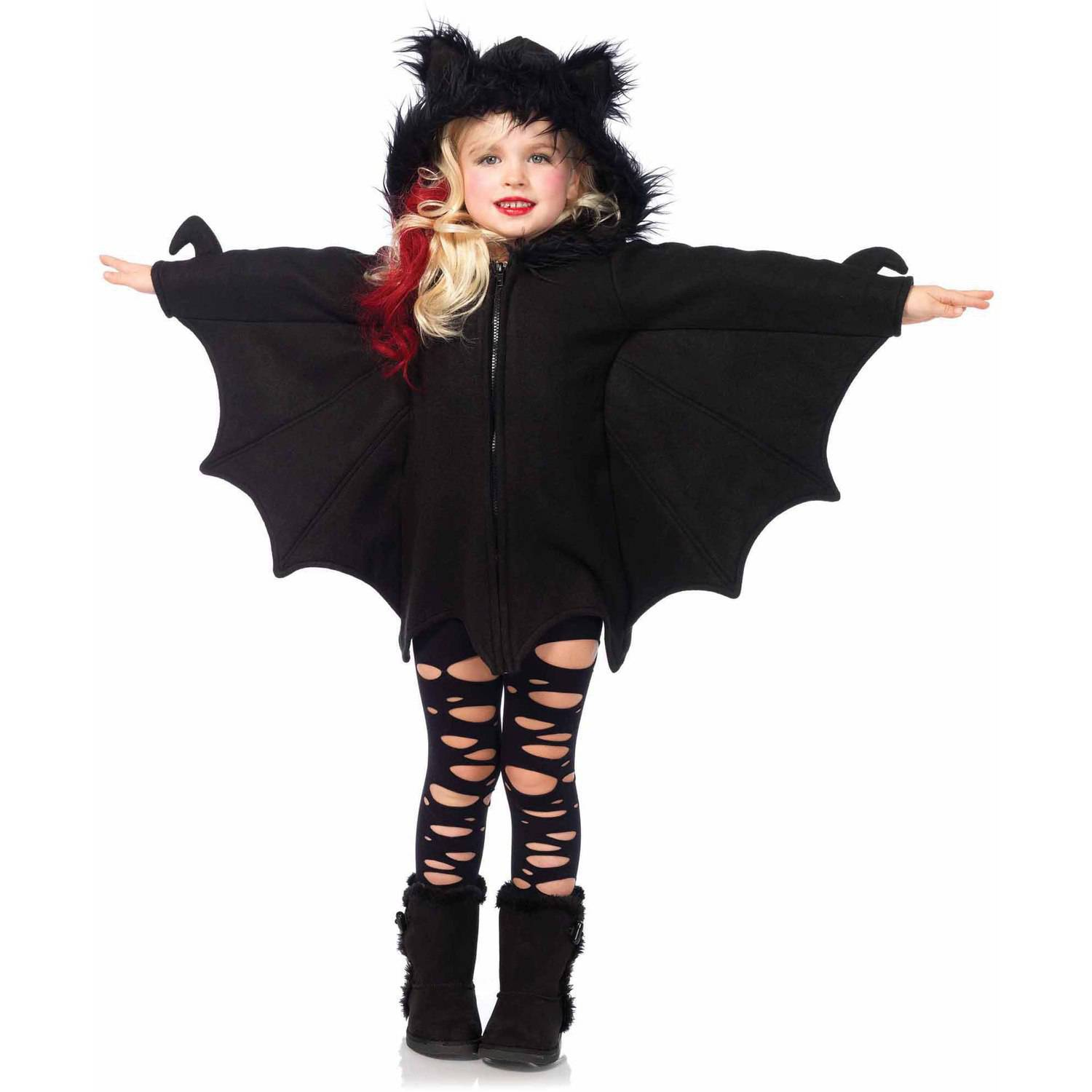 Girls' Cozy Bat Zipper front Fleece Dress w/ Hood