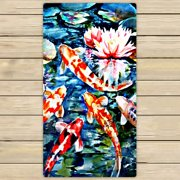 GCKG Koi Fish Beach Towel Shower Towel Wrap For Home and Travel Use Size 30x56 inches